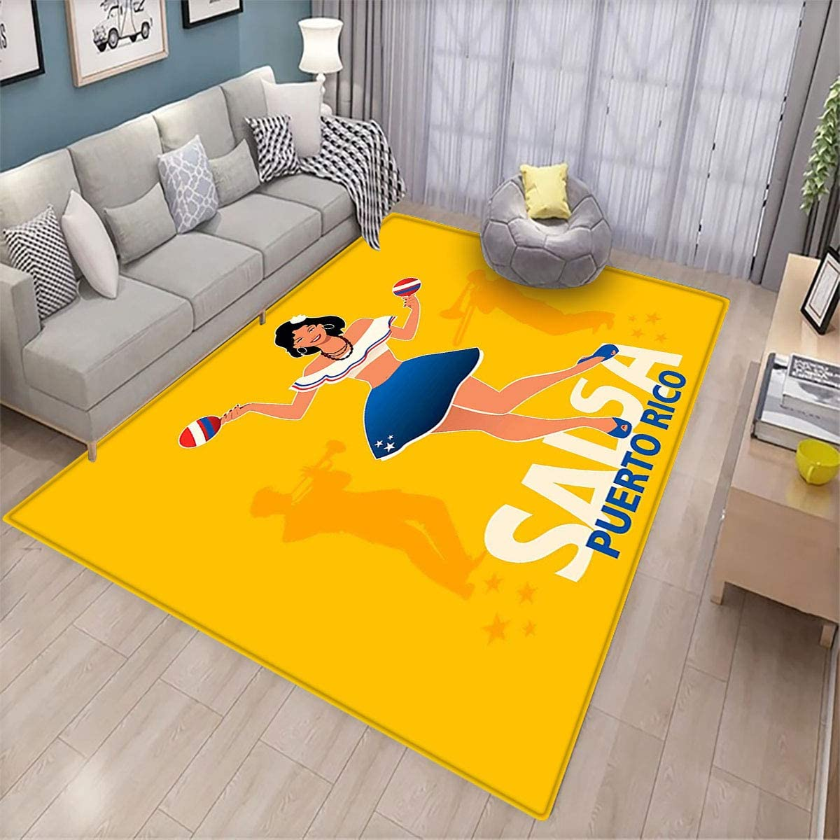 Puerto Rico,Indoor Floor mat,Salsa Dancing Girl with Maracas Trombonist and Trumpeter Silhouette on Backdrop Multicolor -6'x7',Can be Used for Floor Decoration