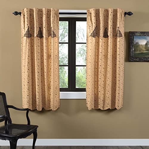 VHC Brands Classic Country Primitive Window Maisie Tan Lined Short Curtain Panel Pair