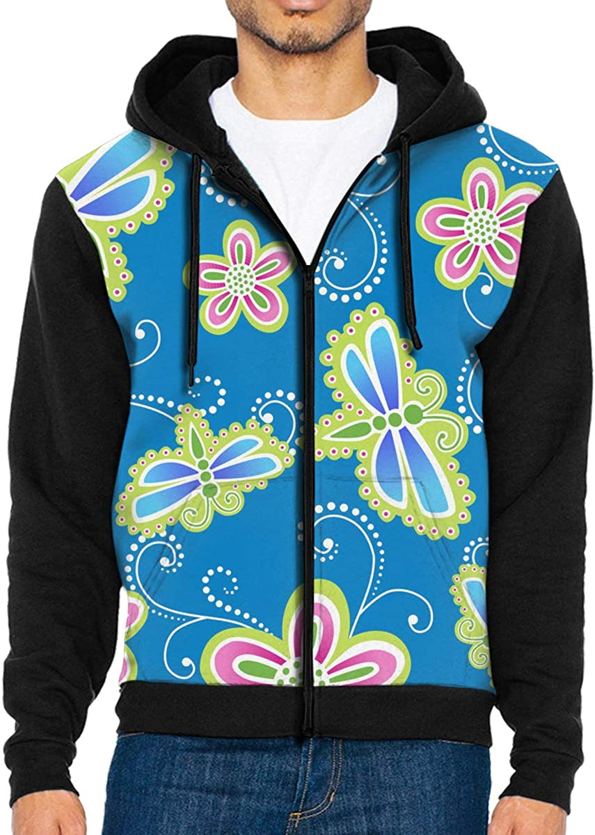 HEHE TAN Mens Pullover Hood Flower and Dragonfly Zip Hoodies Hooded Casual Jackets Coats