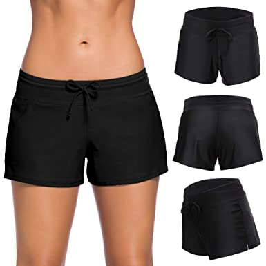 27b297ec01 Amazon.com: Women Sports Swimsuit Bottom Side Split Shorts Bikini Tankinis  Swim Beach Board Swimwear Shorts Panty Liner: Clothing