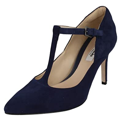 bae676c911e8 Clarks Women s Stiletto Heel T-Bar Court Shoes Dinah Dolly Dark Blue Suede