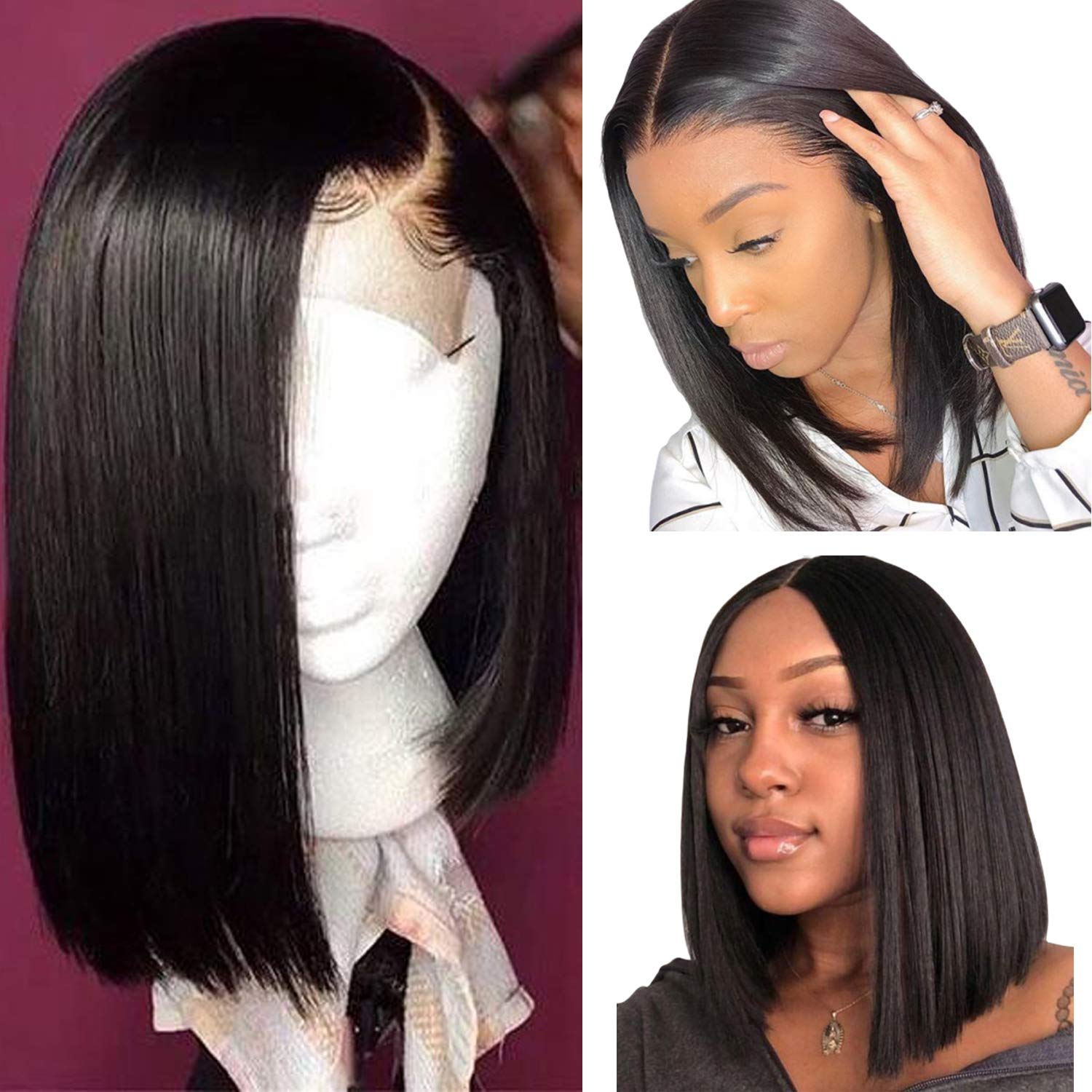 Amazon Com 14 Inch Long Black Human Hair Wigs For Women 180 Density Straight 1b Bob Wig Brazilian Virgin Remy Hair 13 4 Middle Part Lace Front Wig Pre Plucked With Baby Hair Beauty
