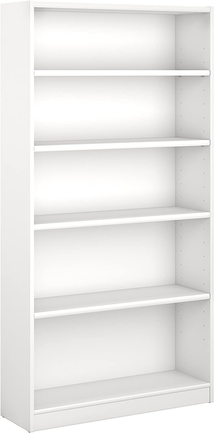 Bush Furniture Universal 5 Shelf Bookcase in Pure White