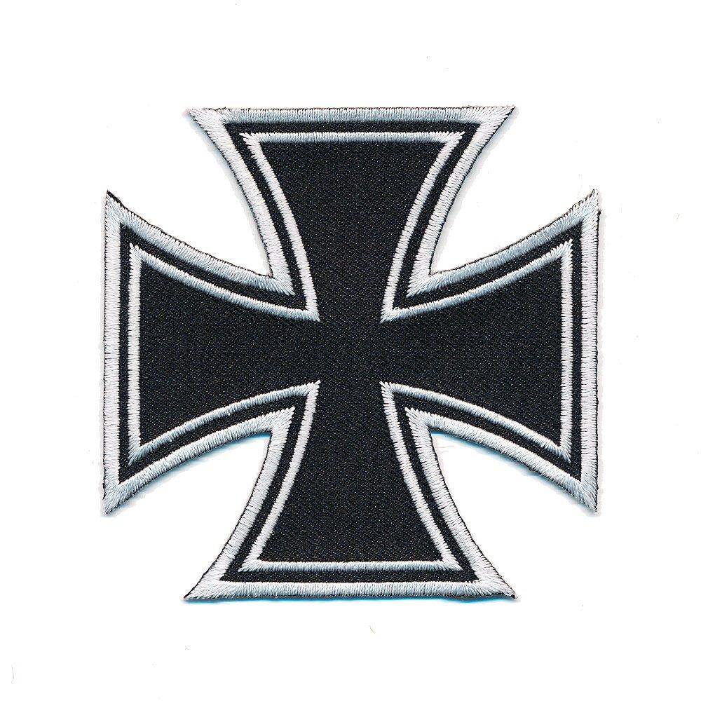 60 x 60 mm Kreuz Iron Cross Malteser Biker Patch Aufn/äher Aufb/ügler 0668 B