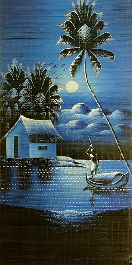 Image of: Canvas Buy Hand Painted Art Nature Scenery Moon Light River Side Kerala Painting On Woven Bamboo Mat Online At Low Prices In India Amazonin Jignesh Minaxi Buy Hand Painted Art Nature Scenery Moon Light River Side Kerala