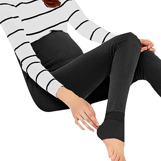 b0303ce52b98f Pregnant Women Fleece Lined Leggings Pants Maternity Warm Winter Stretch  Trousers (Black)