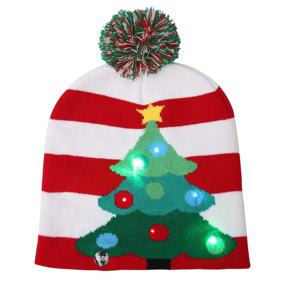 MomeMerry Christmas Hat  1PC Kids Adult LED Light Christmas Hat Santa Claus Reindeer Snowflake Snowman Xmas Gifts Knit Caps (D)
