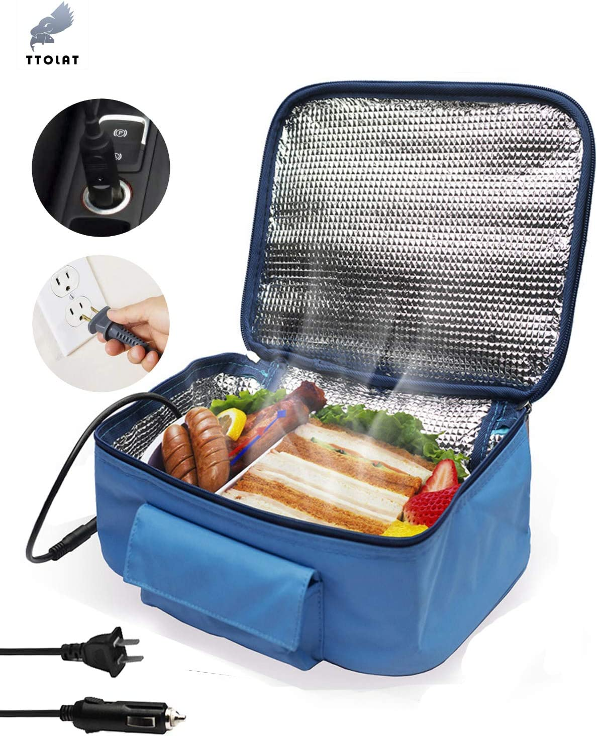 TTOLAT Mini Portable Oven Heated lunch box(12V and 110V Dual Use) Heating hamburger lunch and other food portable heating electric box,Lunch Box for Office, Travel, Potlucks, and Home Kitchen- Blue