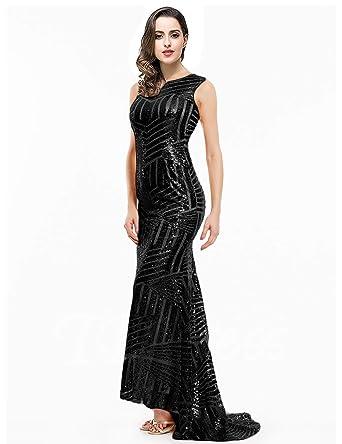 Women s Mermaid Sequin Prom Dresses Open Back Formal Evening Gowns Size 2  Black 9bd700de49