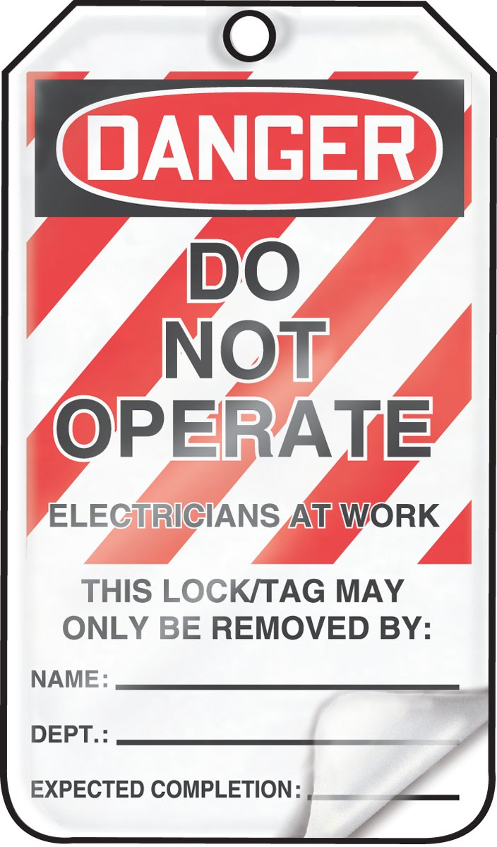 Accuform MLT402LTP HS-Laminate Lockout Tag, Legend''DANGER DO NOT OPERATE ELECTRICIANS AT WORK'', 5.75'' Length x 3.25'' Width x 0.024'' Thickness, Red/Black on White (Pack of 25)