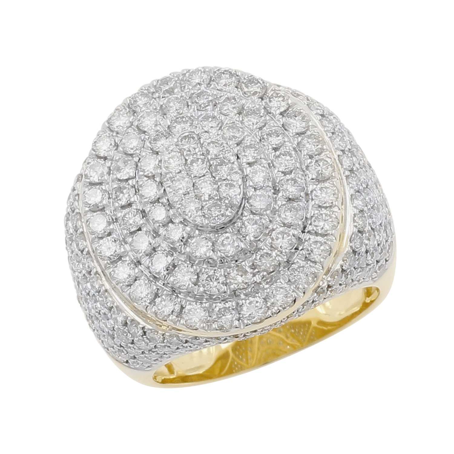 5.70 Carat 10kt Yellow Gold Diamond Cluster Men's Statement Pinky Ring