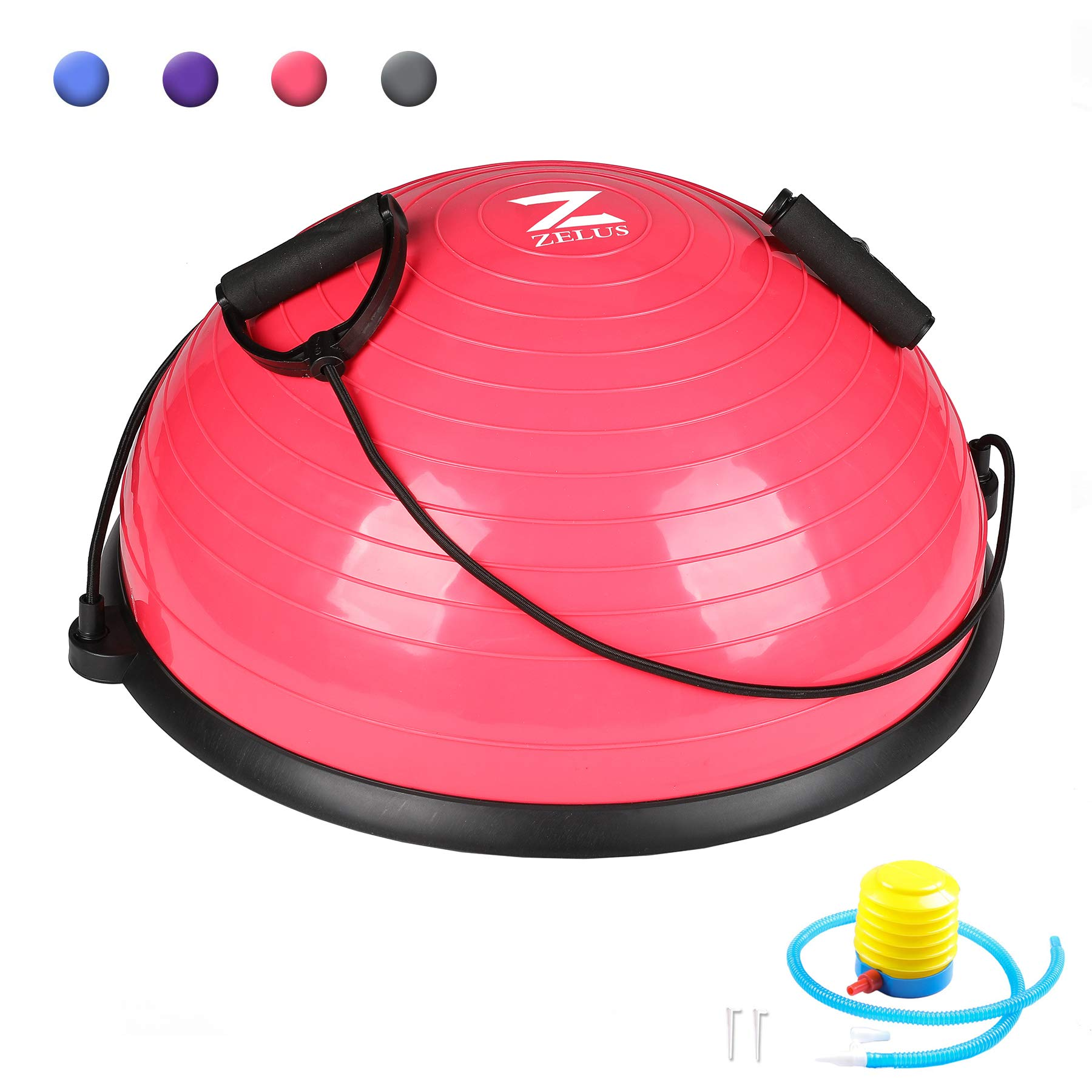 ZELUS Balance Ball Trainer Half Yoga Exercise Ball with Resistance Bands & Foot Pump for Yoga Fitness Home Gym Workout