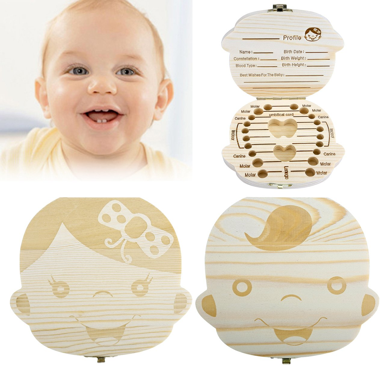 Baby Teeth Box, Yoption Child Milk Teeth Save Wooden Keepsake Souvenir Box, Customize Personalized Baby Tooth Box for Kids Boy&Girl (English, Girl)