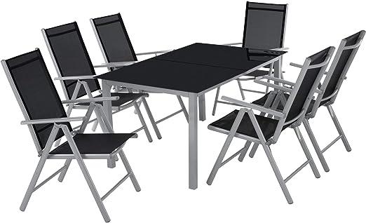 TecTake Aluminio Conjunto Muebles para Jardin 6+1 Silla Adjustable ...