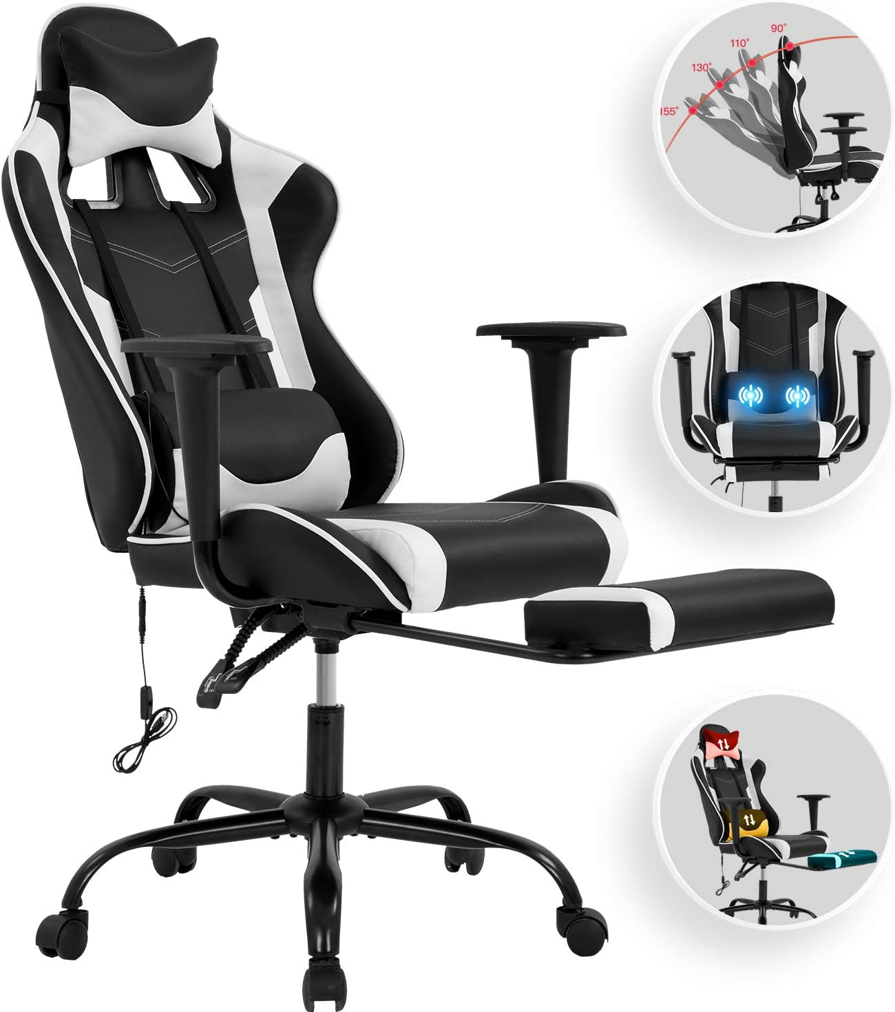 Vnewone Computer Gaming Chair Office PC Ergonomic Home Executive Desk Racing Rolling Swivel Task Adjustable High-Back PU Leather with Lumbar Support Footrest Headrest Armrest Massager, White