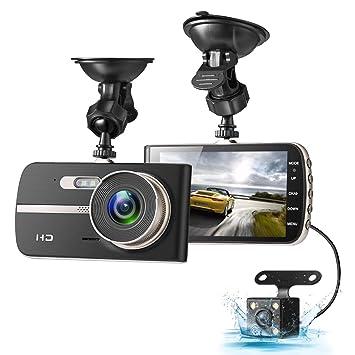 Dash Cam, eivotor 1080P HD Dual Channel salpicadero cámaras frontal y trasera, conducción grabadora