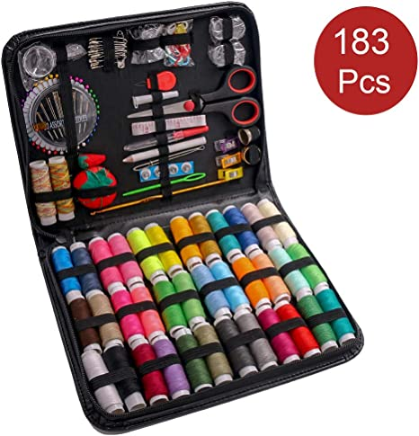Sewing Supplies Kit with Needle and Thread Home Premium Sewing Machine Kit 183PCS Traveler Kids Beginners Great for Adults College Students Emergency