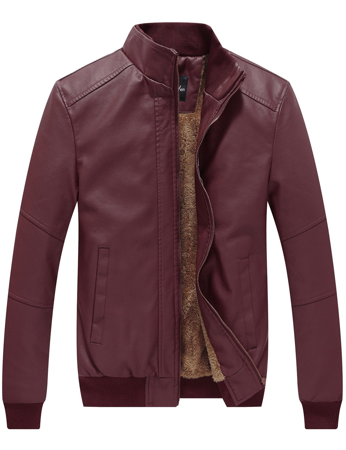 WenVen Men's Winter Fashion Faux Leather Jackets (Red Wine, X-Large) by WenVen