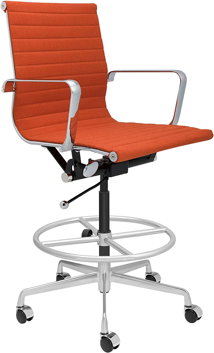Yellow SOHO Ribbed Drafting Chair Ergonomically Designed and Commercial Grade Draft Height for Standing Desks