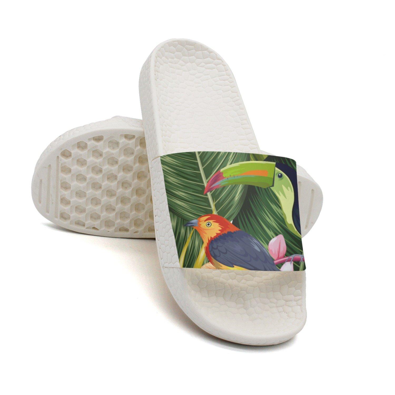Ether Dobbin Unisex Tropical Flower And Parrot Anti-Slip Slippers Athletic Slide Sandals