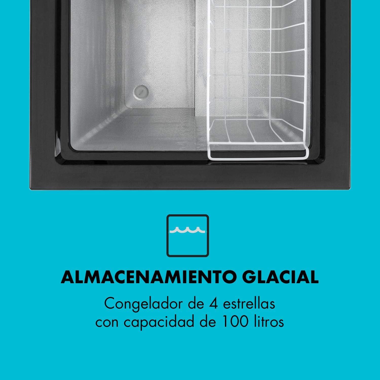 Klarstein Iceblokk 100 Congelador - Silencioso, Freezer 4 Estrellas, Puerta Superior, 100 L, 75 W, Regulador de Temperatura, Ruedecillas, Cesto Colgante extraíble, Aislado, Negro: Amazon.es: Grandes electrodomésticos