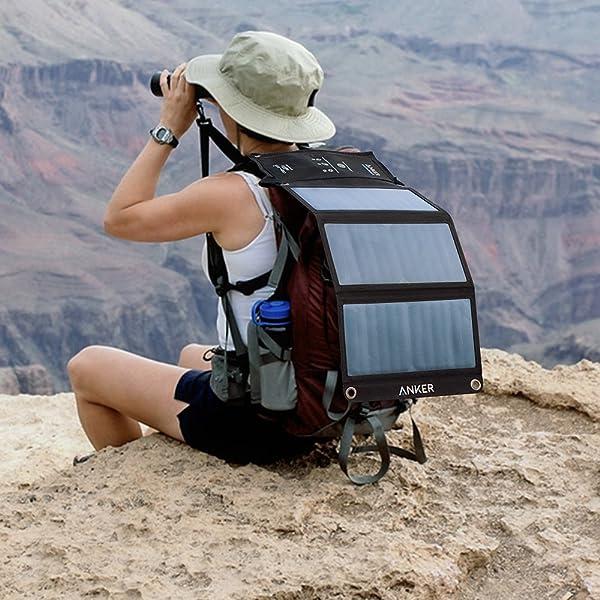 solar panel on a hiker