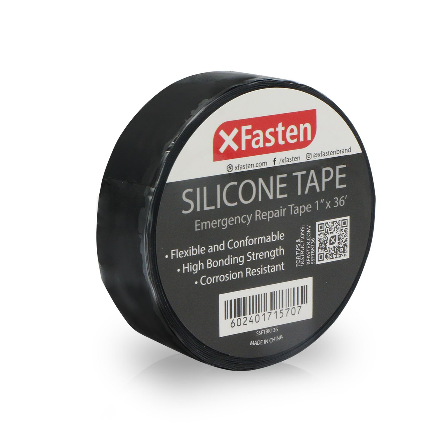 XFasten Silicone Self Fusing Tape 1-Inch x 36-Foot (Black) Silicone Repair Tape by XFasten