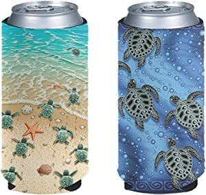 NETILGEN Slim Can Sleeves Soft Insulator for Tall Beverage, Beach Turtle Beer Cans Cooler, Cooize Skinny Insulators Covers for Energy Cover-2 Pack