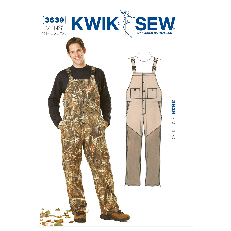 KWIK Schnittmuster Herren-Overall K3639, Größen S, M, L, XL, XXL ...