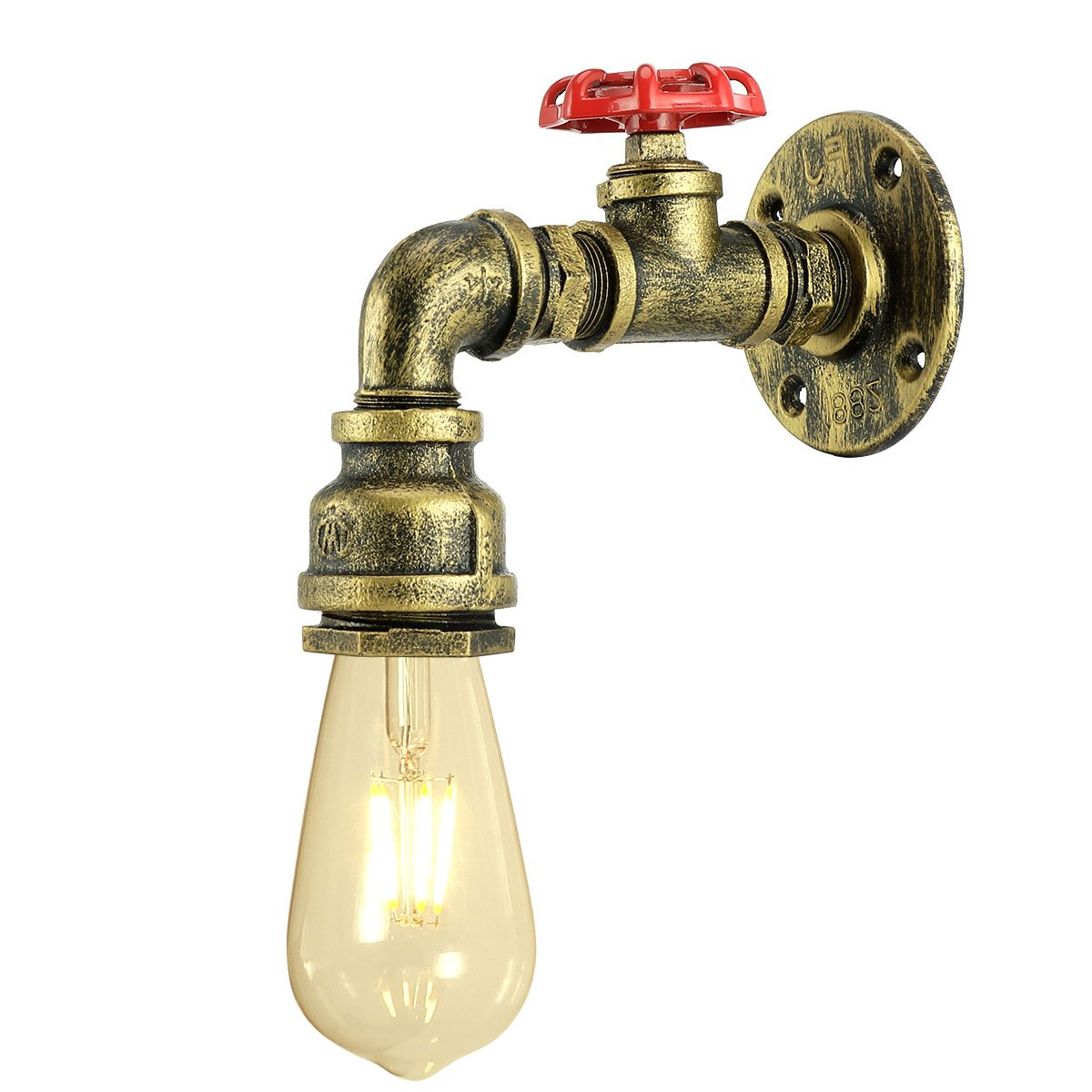 Rust Color Bar KAWELL Vintage Wall Lamp Industrial Retro Wall Light Creative Water Pipe Wall Sconce Iron Metal E27 60W Max for Restaurant Cafe Kitchen,Bedroom