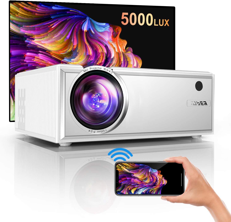 Proyector,YABER Mini Proyector Portátil 5000 Lúmenes Proyector WiFi Soporta Full HD 1080P Dolby Vídeo Proyector Cine en Casa con Altavoces Estéreo HiFi 60000 Horas,con HDMI USB VGA
