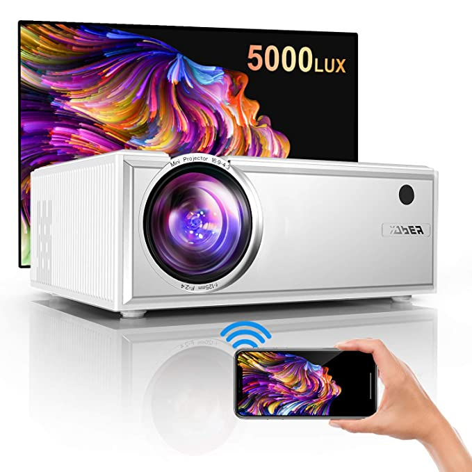 Proyector,YABER Mini Proyector WiFi,2020 Actualizado Proyector Portátil 5000 Lúmenes Soporta Full HD 1080P Dolby Vídeo Proyector Cine en Casa con Altavoces Estéreo HiFi 60000 Horas,HDMI USB VGA SD PS4