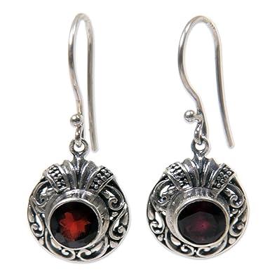 Novica Garnet dangle earrings, Twinkling Scarlet