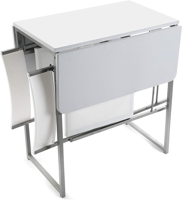 Metal y Polivinilo 2 sillas 70x45x80cm Versa 19840050 Mesa plegable Blanca