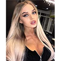 Vedar 2019 New Design - Flawless V Shape Widow's Peak - Realistic Foggy Brown Rooted Platinum Blonde Lace Front Wigs for Women Silky Straight Hair Wig 22 inches Transparent Lace