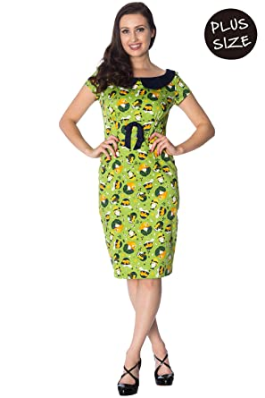 Banned Plus Size Vintage Hat Fifties 50s Retro Wiggle Dress - Lime Green/UK-