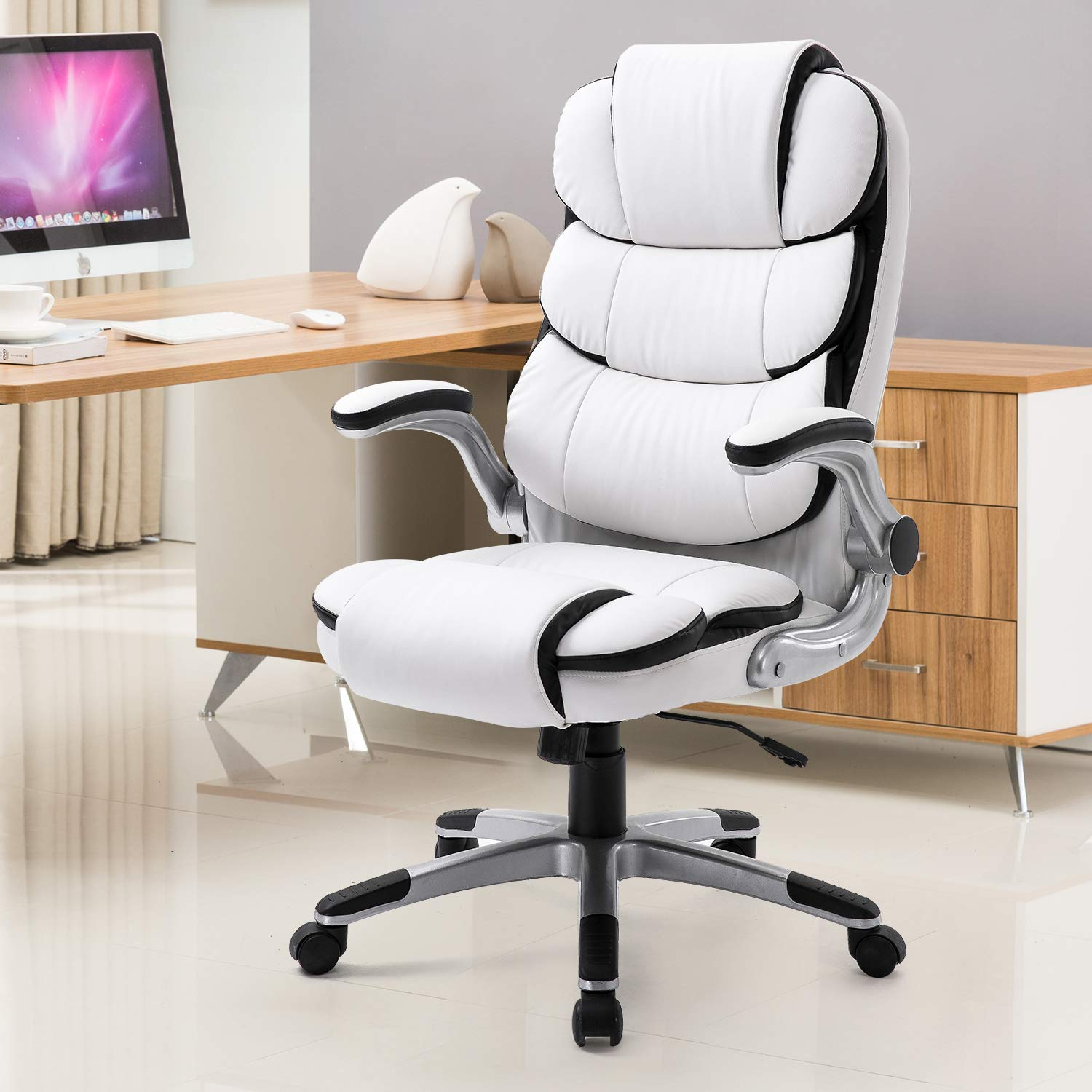 YAMASORO High-Back Executive Office Chair Leather, Adjustable Ergonomic Swivel Computer Desk Chair with Flip-up Armrest,Back Support for Working, Studying (White)