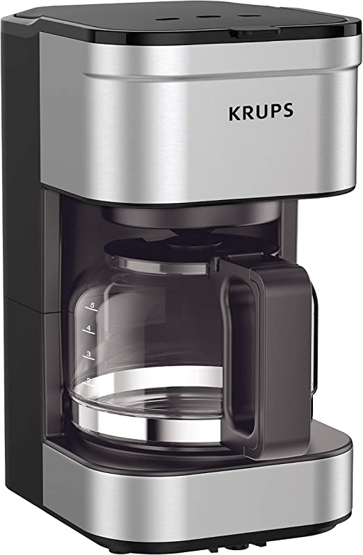 Krups Km202850 Simply Brew Compact Filter Drip Coffee Maker 5 Cup Silver