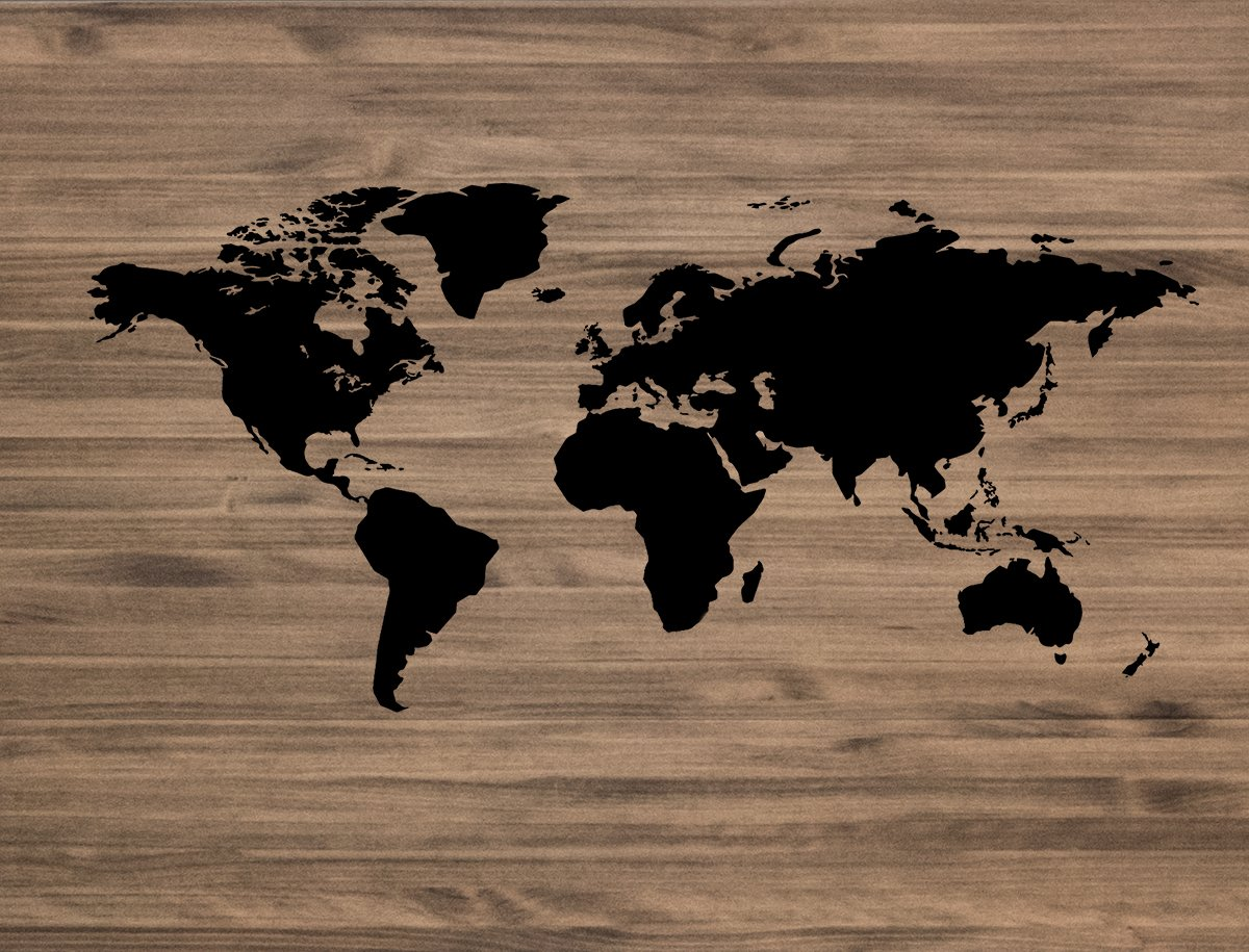 Decowood DCW05 Cabecero 'World Map', Madera,, 150 x 80 x 3 cm 051105-D0001