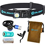 Olight H1R Nova 600 Lumens Rechargeable LED Headlamp (Choice of Three Color Headbands) w/ Olight RCR123A Battery, Magnetic USB Charging Cable, and LumenTac CR123A Battery