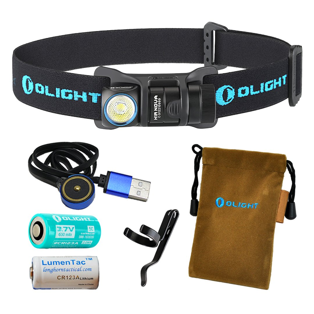 Olight H1R Nova 600 Lumens Rechargeable LED Headlamp w/ Olight RCR123A Battery, Magnetic USB Charging Cable, and LumenTac CR123A Battery (Black, Cool White)