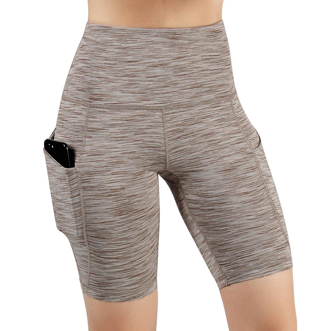 Yogapocketshots626spacedyebrown ODODOS High Waist Out Pocket Yoga Short Tummy Control Workout Running Athletic Non SeeThrough Yoga Shorts