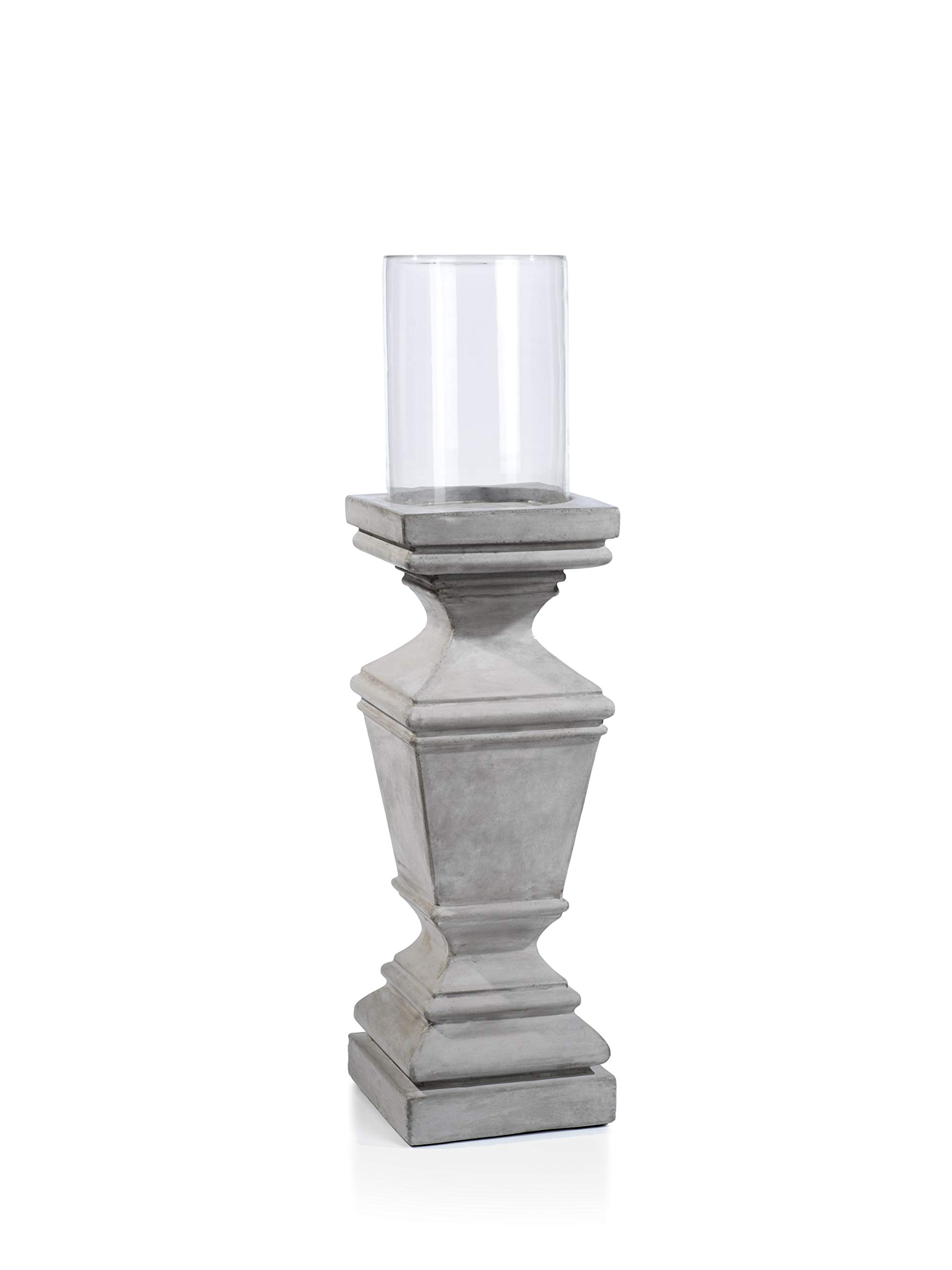 Zodax Giverny 37.5'' Tall Concrete Pillar with Glass Hurricane, Small, Taupe