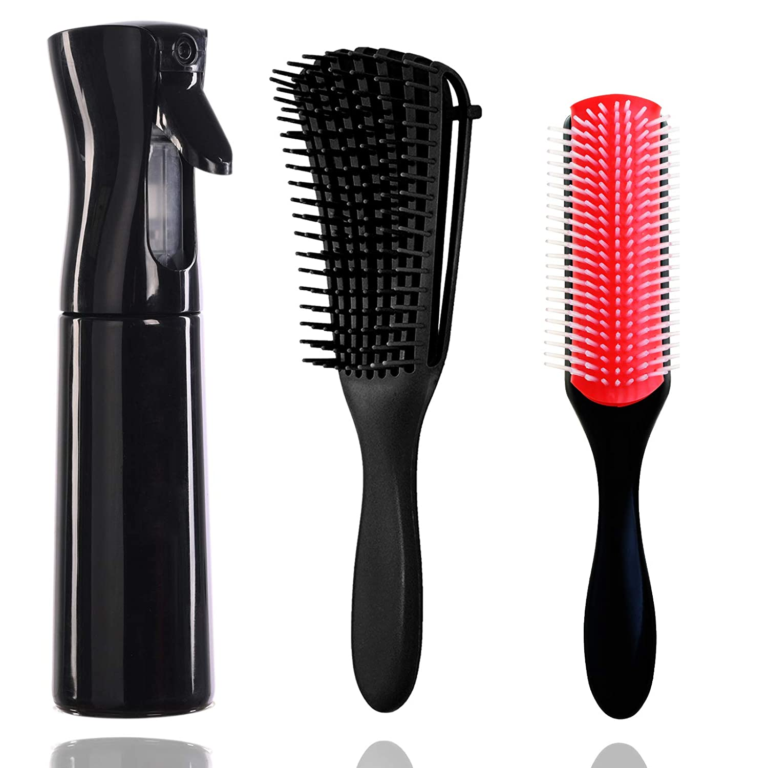 Hair Continuous Spray Bottle Set, 9-Row Cushion Nylon Bristle Brush +Detangling Brush Water Sprayer Brush Set Hair for Hairstyling, Cleaning, Plants & Misting, (300ML&10 Ounce, Black)