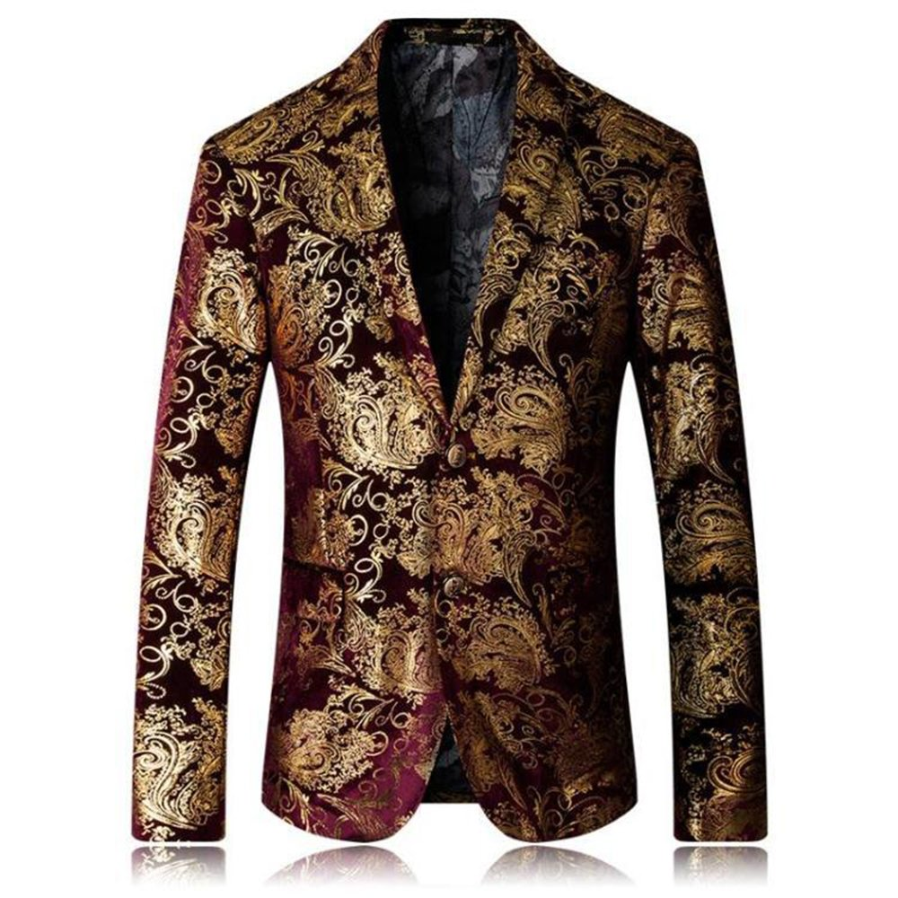 Musnow Men's Printing Pattern Blazer Gentleman Luxury Suit Top Coat Business Wedding