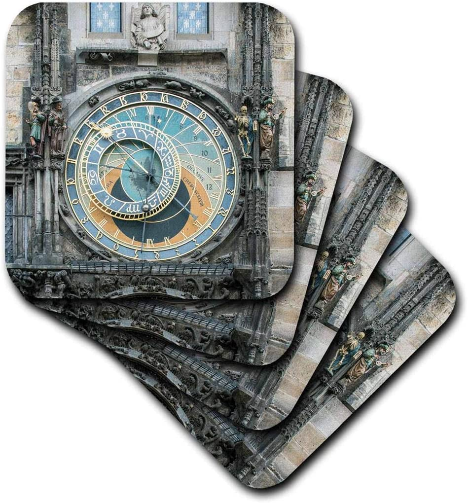 3dRose CST_208777_3 Europe, Czech Republic, Bohemia, Prague, Astronomical Clock Ceramic Tile Coasters (Set of 4)