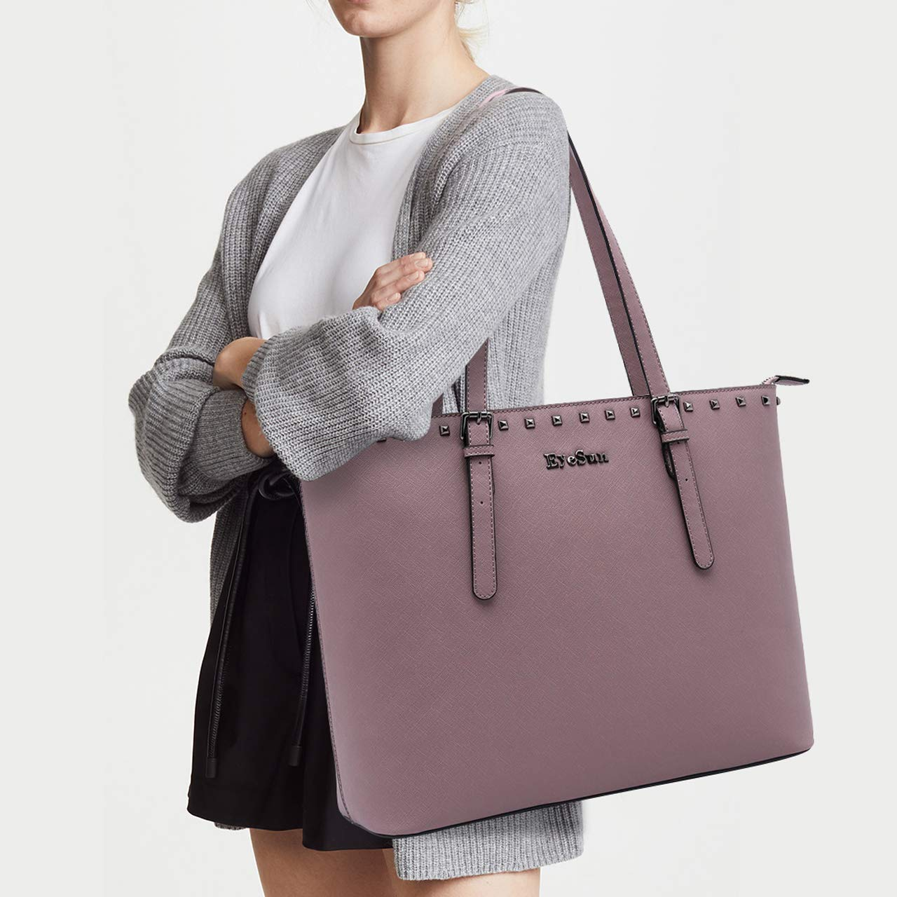 Laptop Bag for Women,15.6 Inch Laptop Tote Bag Office Briefcase with Adjustable Strap and Rivets(2013-purple) by EyeSun (Image #2)