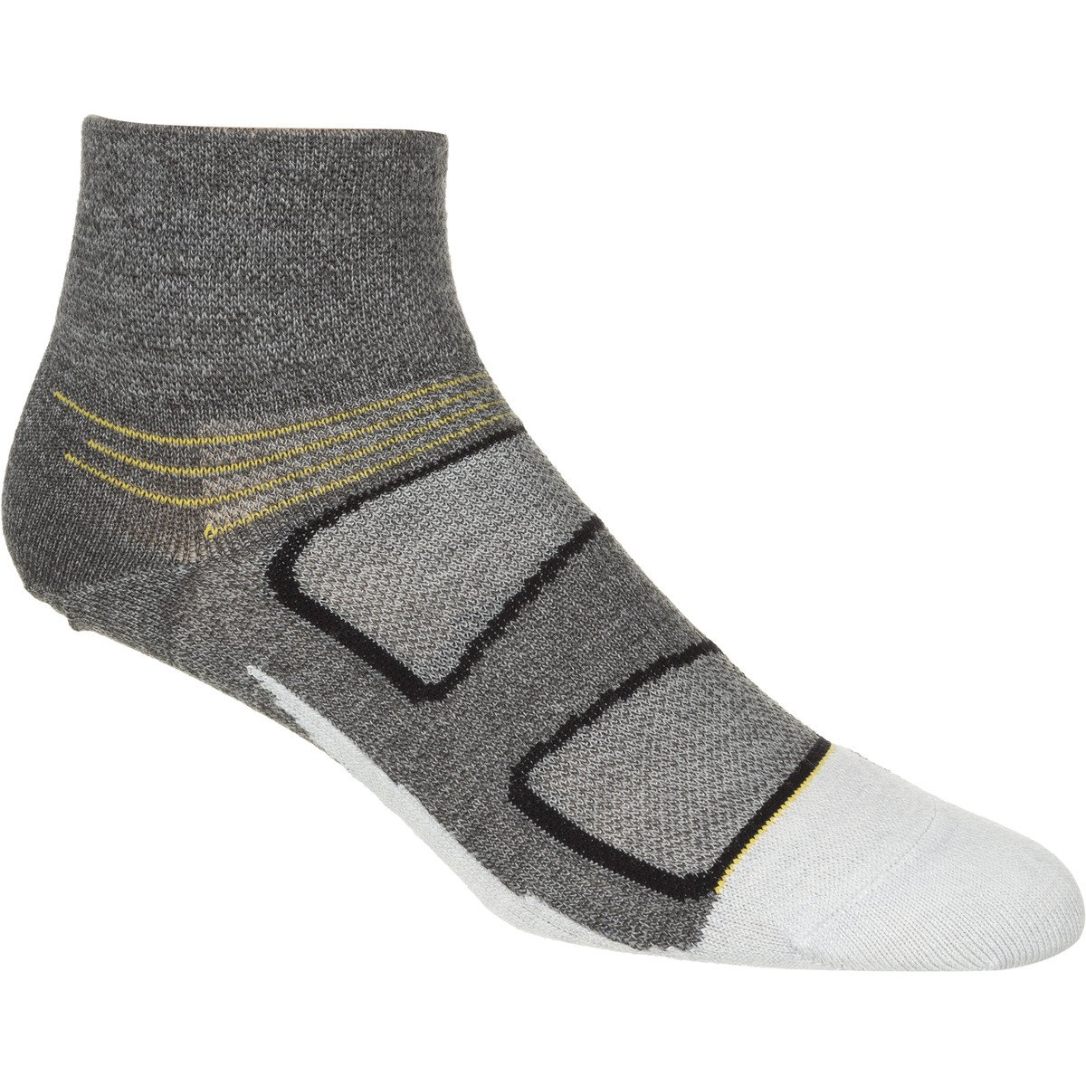 Elite Merino Gray//Yellow Medium Feetures Ultra-Light Cushion Quarter Socks