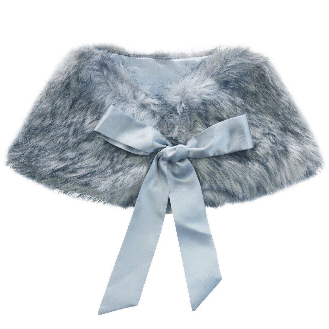 FEESHOW Flower Girls Faux Fur Wedding Shawl Wrap Stole Princess Shoulder Cape Bolero Shrug Grey one size