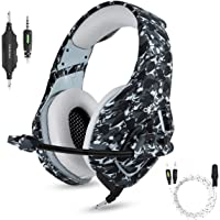 PS4 Gaming Headset with Microphone for PC New Xbox One PSP Gamer Headphones with Mic Noise Cancelling for Laptop, Mac, Smart Phones, Nintendo Switch, Surround Stereo Sound Volume Control(Camouflage)